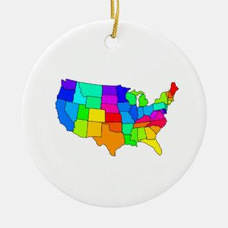 Mapa colorido de los Estados Unidos de América Adorno Navideño Redondo De Cerámica