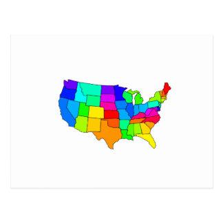 Mapa colorido de los Estados Unidos de América Postal