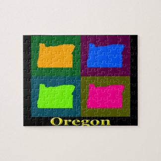 Mapa colorido del arte pop de Oregon Puzzle
