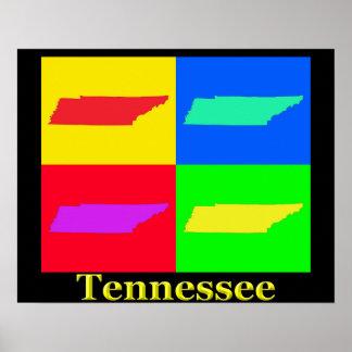 Mapa colorido del arte pop de Tennessee Póster
