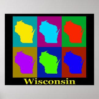 Mapa colorido del arte pop de Wisconsin Póster