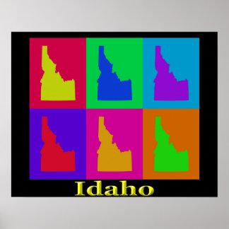 Mapa colorido del arte pop del estado de Idaho Posters