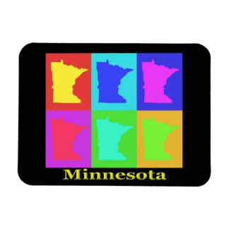 Mapa colorido del arte pop del estado de Minnesota Imán Flexible