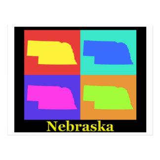 Mapa colorido del arte pop del estado de Nebraska Tarjeta Postal