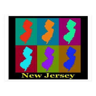 Mapa colorido del arte pop del estado de New Tarjetas Postales