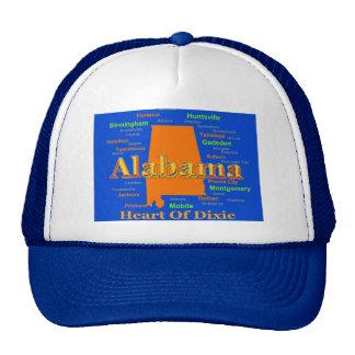 Mapa colorido del orgullo del estado de Alabama Gorras De Camionero