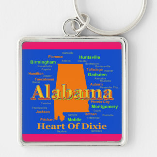 Mapa colorido del orgullo del estado de Alabama Llaveros