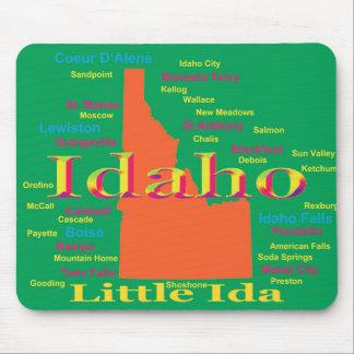 Mapa colorido del orgullo del estado de Idaho Tapetes De Ratón