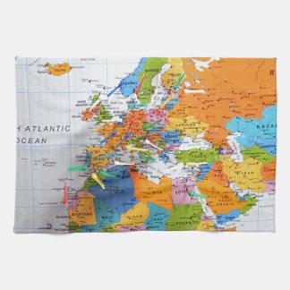 Mapa colorido del viaje toalla de mano