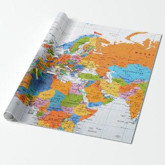 Mapa colorido del viaje papel de regalo