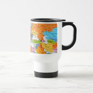 Mapa colorido del viaje taza de viaje
