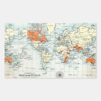 Mapa comercial antiguo del mundo rectangular altavoz