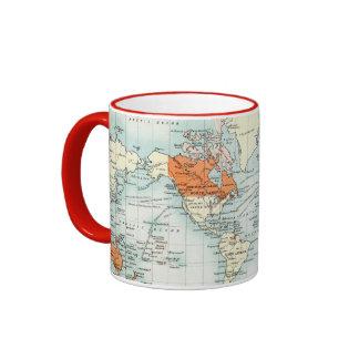 Mapa comercial antiguo del mundo tazas de café