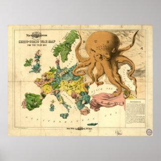 Mapa cómico de la guerra de Serio del vintage por  Póster