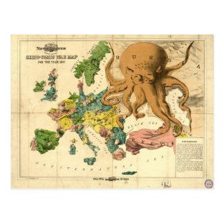 Mapa cómico de la guerra de Serio del vintage por Tarjeta Postal