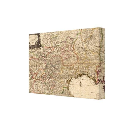 Mapa compuesto de acuerdos franceses impresión en lona estirada