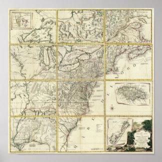 Mapa compuesto de Estados Unidos Póster