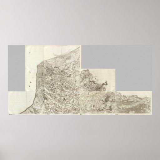 Mapa compuesto de Francia 10 Póster
