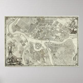 Mapa compuesto de St Petersburg Póster