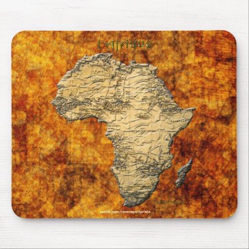 Mapa continental de África en BG rústica de oro Alfombrilla De Ratón