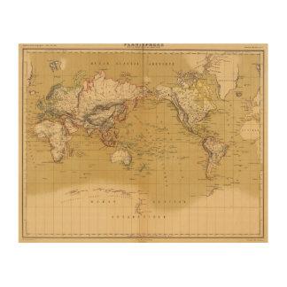 Mapa continental impresiones en madera