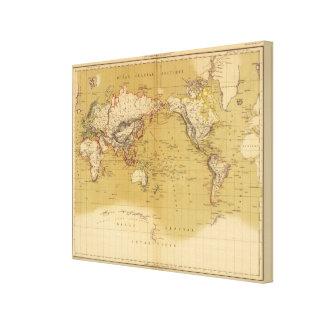 Mapa continental impresiones en lona estiradas