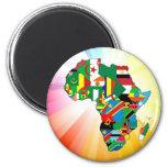 Mapa continente 2 de la bandera de África Imanes Para Frigoríficos
