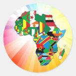 Mapa continente 2 de la bandera de África Etiquetas Redondas