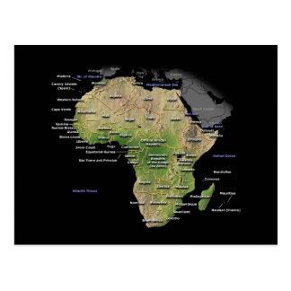 Mapa continente africano tarjeta postal