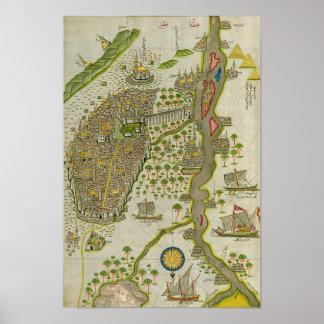 Mapa coránico del vintage del Nilo Poster