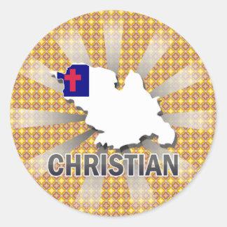 Mapa cristiano 2,0 de la bandera pegatinas redondas