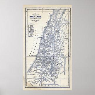 Mapa cristiano de Jerusalén de la Tierra Santa del Poster