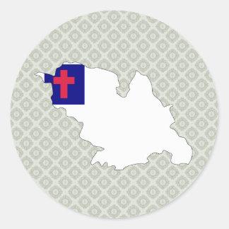 Mapa cristiano de la bandera del mismo tamaño etiqueta redonda