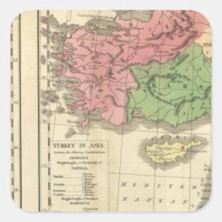 Mapa cronológico de Turquía Pegatina Cuadrada