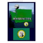 Mapa, cuarto, sello y montañas del estado de tarjeta de felicitación