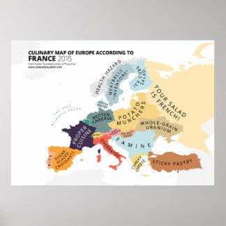 Mapa culinario de Europa según Francia Póster