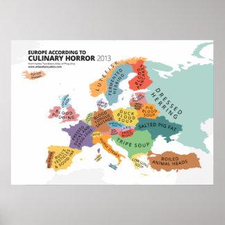 Mapa culinario del horror de Europa Póster