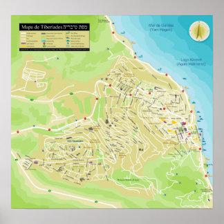 Mapa da cidade de Tiberíades na Galileia em Israel Poster