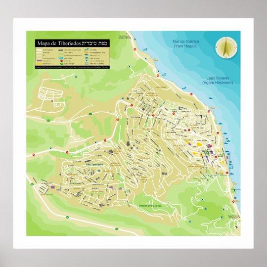 Mapa da Cidade de Tiberiades ou Tiveria em Israel Poster