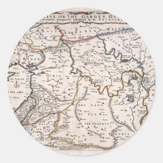 Mapa das Terras do Paraíso, e Terra Santa Classic Round Sticker