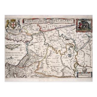 Mapa das Terras do Paraíso, e Terra Santa Postcard