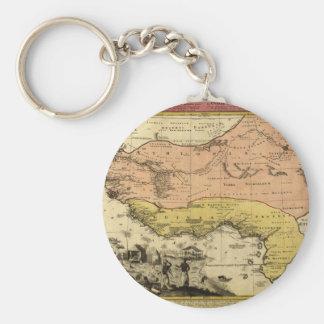 Mapa de 1743 Áfricas occidentales Llavero Redondo Tipo Pin