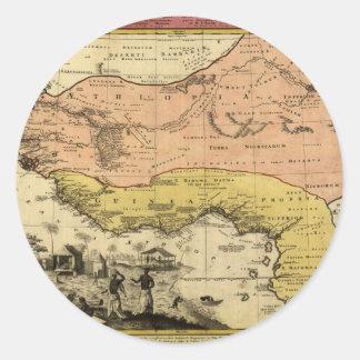 Mapa de 1743 Áfricas occidentales Pegatina Redonda