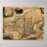 Mapa de 1850 carriles de Nueva Inglaterra, de Nuev Posters