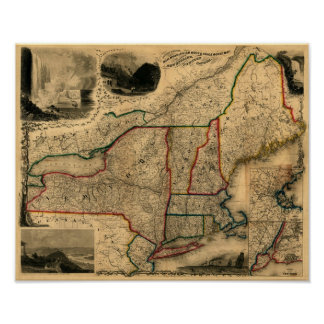 Mapa de 1850 carriles de Nueva Inglaterra, de Nuev Póster