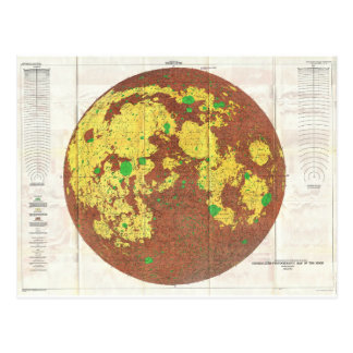 Mapa de 1961 U.S.G.S. Photogeologic de la luna Tarjetas Postales