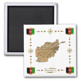 Mapa de Afganistán + Imán de las banderas