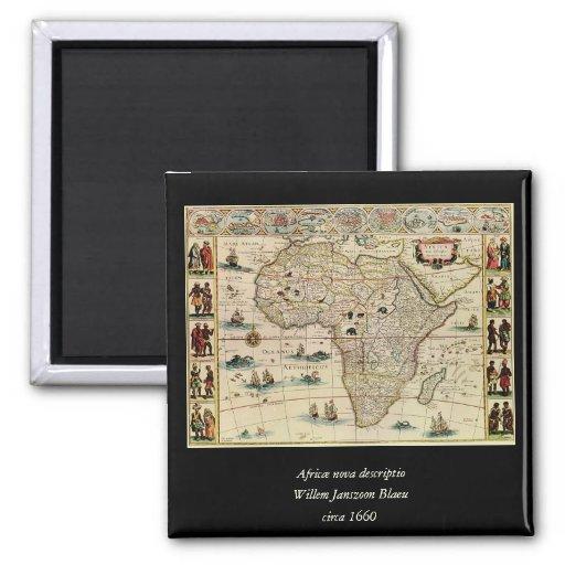 Mapa de África de los 1660's del vintage de Willem Imán Cuadrado