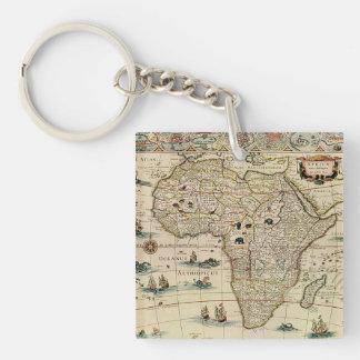 Mapa de África de los 1660's del vintage de Willem Llavero Cuadrado Acrílico A Doble Cara