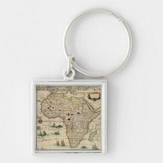 Mapa de África de los 1660's del vintage de Willem Llavero Cuadrado Plateado